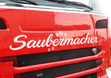 Saubermacher Truck #script #done #re #logo #typography
