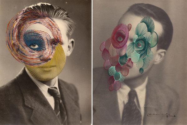 The Embroidered Secrets of Maurizio Anzeri   Yatzer #contemporary #embroidery #photography #art #maurizio #collage #anzeri
