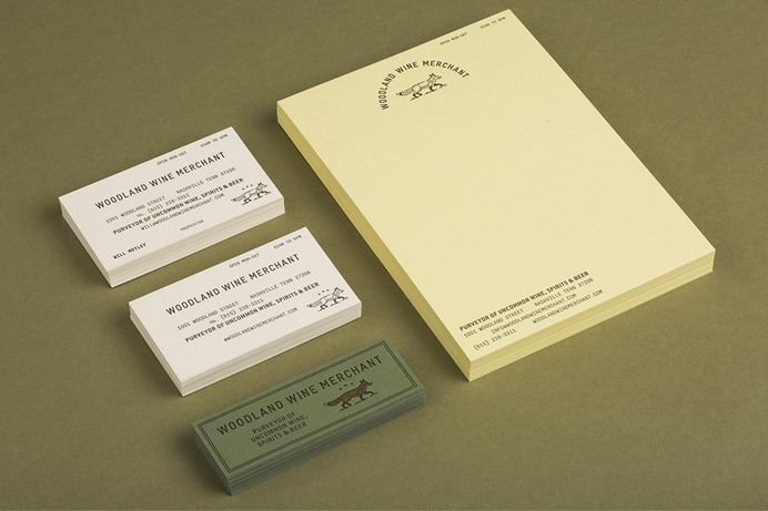 Business cards and stationery for Nashville based Woodland Wine Merchant by Perky Bros #identity #branding #stationery