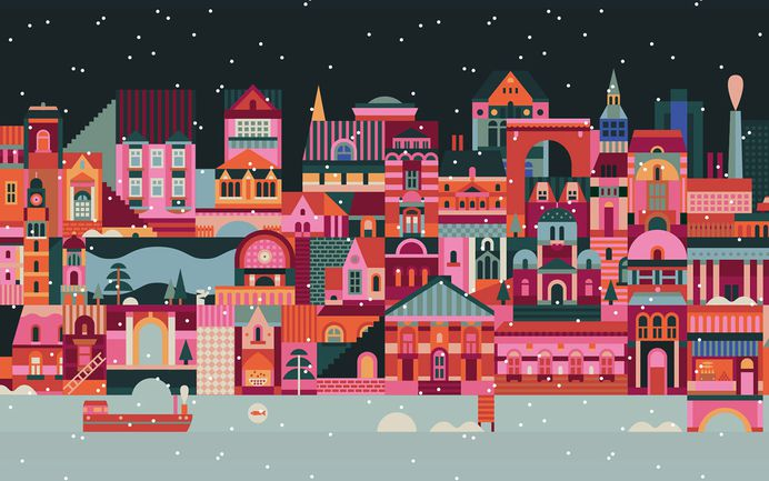 Lotta Nieminen designed the holiday campaign for Marimekko, the iconic home furnishings, textiles, and fashion company based in Finland. Inspired by the cheerful and warm colours of Marimekko's new winter collection, the illustration showcases a colourful city preparing for the holidays. For more of the most beautiful designs visit mindsparklemag.com