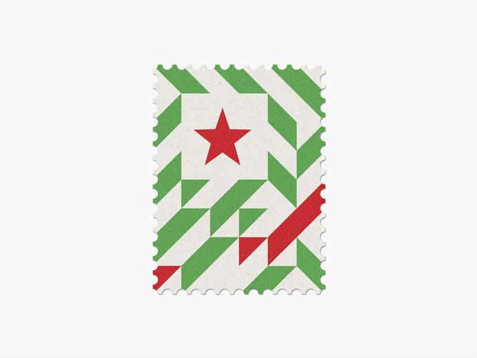 Algeria #stamp #graphic #maan #geometric #illustration #minimal #2014 #worldcup #brazil