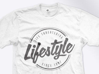 Dribbble - Life Threatening Lifestyle by Andy Gilmore #tshirt #apparel #typography