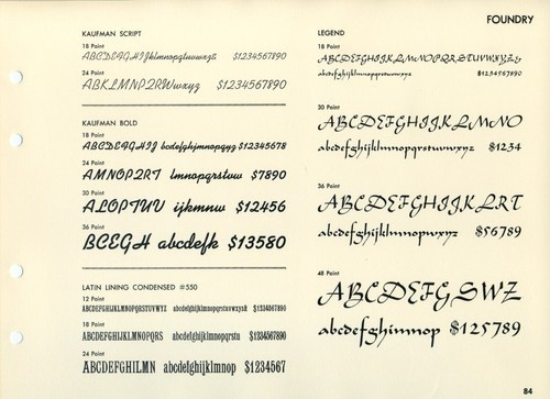Kaufmann Script was designed by Max Kaufmann for ATF in 1936.Latin Lining Condensed #550 is a nineteenth century face that was sold in the t