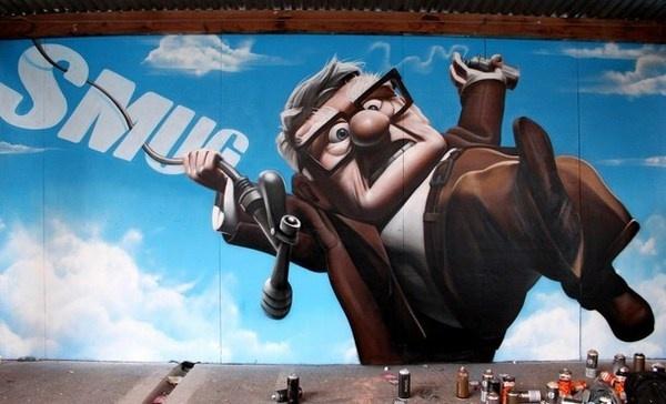 Realistic animation on street art