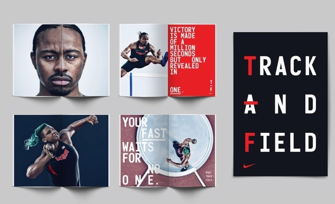 Editorial, editorial design, spread, nike, typography, full bleed photography, photography