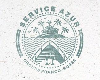 Service Azur #vector #branding #texture #cruise #sea #vintage #logo