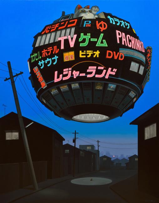 painting oil on cavas globe japan