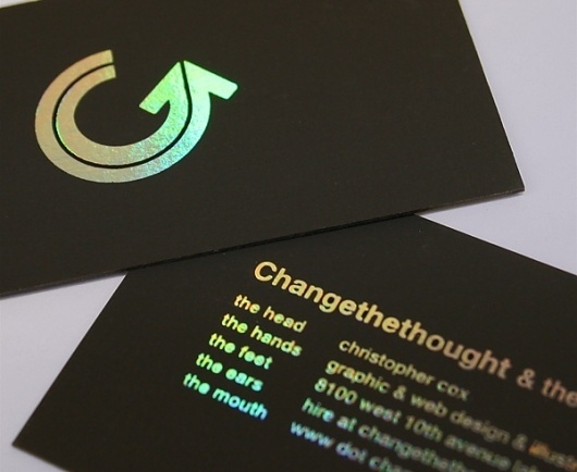 FPO: Changethethought Business Card #hologram #stamp #business #card #rainbow #foil