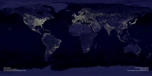 earthlights2_dmsp_big.jpg (JPEG Image, 2400x1200 pixels) - Scaled (46%) #night #earth #photography #light