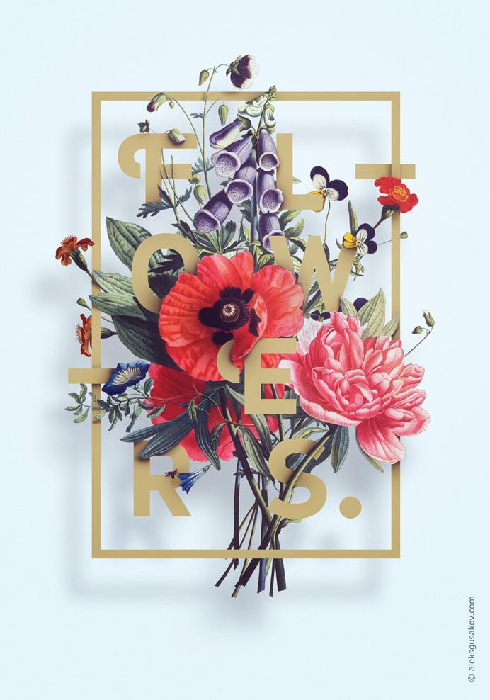 Flowers. by Aleksandr Gusakov #flower #flowers #typography #illustration
