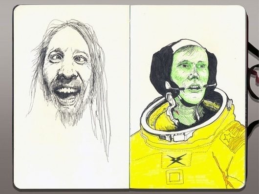 Moleskine/Crazy/Armstrong #page #astronaut #yellow #black #hair #crazy #moleskine #moon