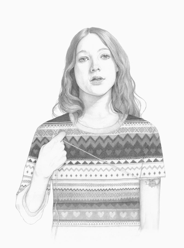 Unravel   Denise Nestor #drawing #girl #sweater
