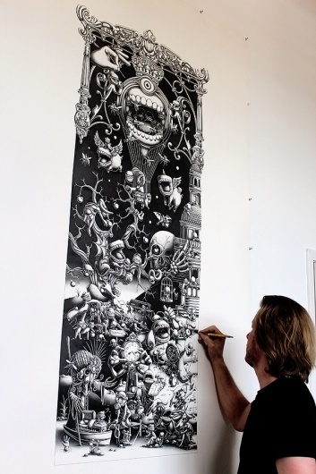 A Triptych - The Landing- 2012 - Panel 1 on the Behance Network #illustration #handmade #mural #blackwhite