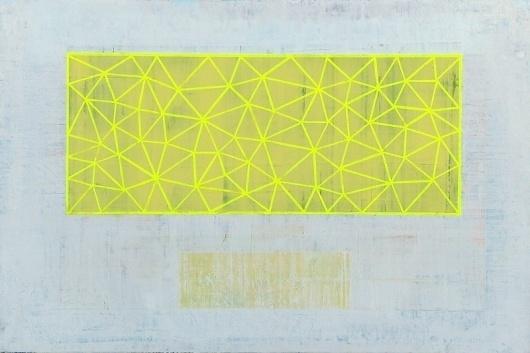 flourescent+yellow+tri+grid+copy.jpg (image) #abstract #bina #dan #grid #triangles #painting #art #canvas