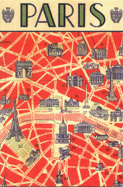 paris postcard #typography #france #postcard #paris#map
