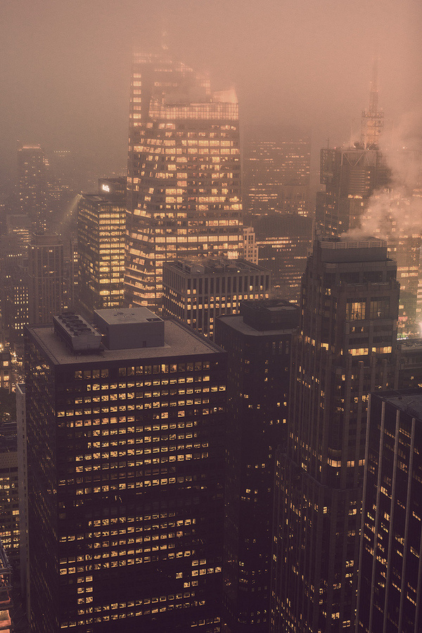 aesthescient:(by Aleks Ivic) #skyscrapers #height #city #lights #metropolis #architecture #buildings