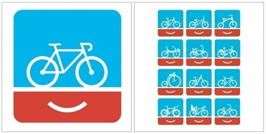 Welcome to Colle+McVoy #red #bicycle #logo #face #blue