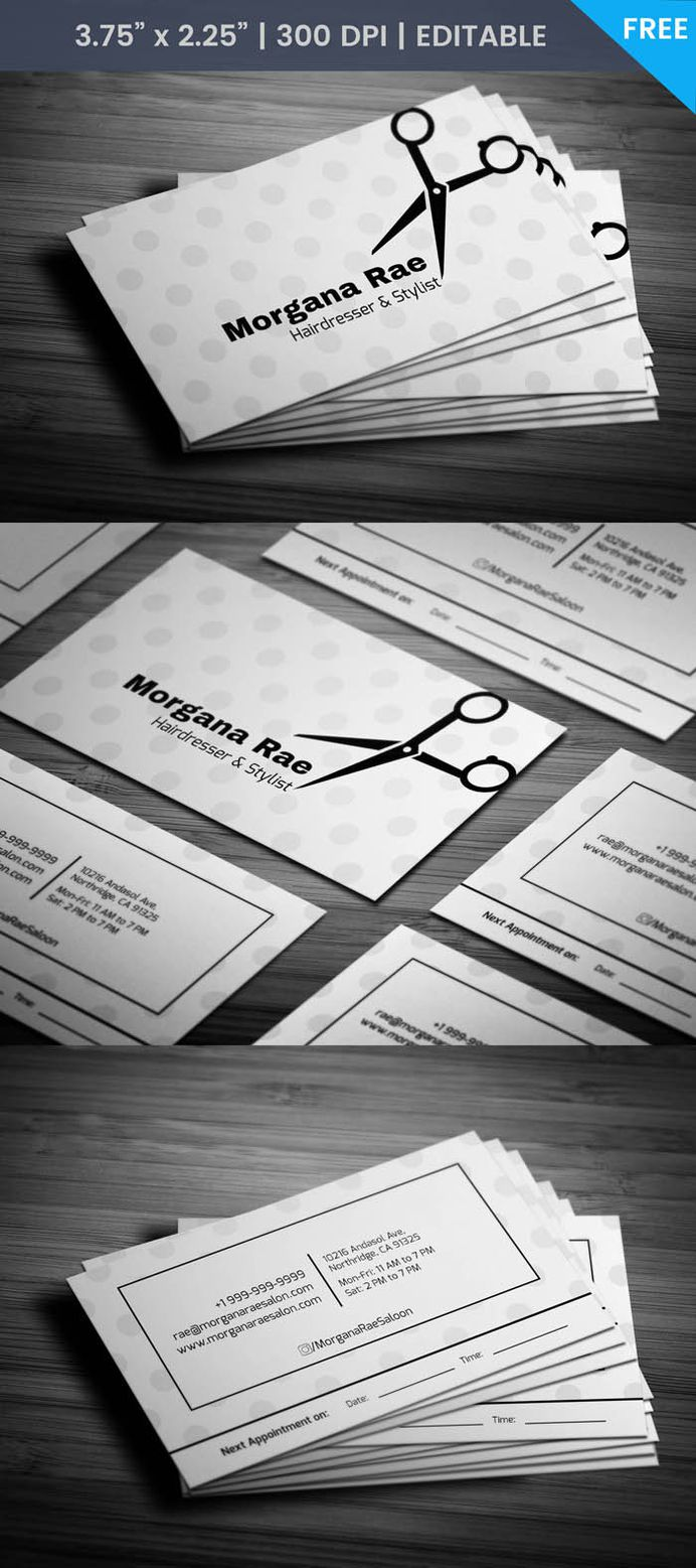 Free Hairdresser Business Card Template