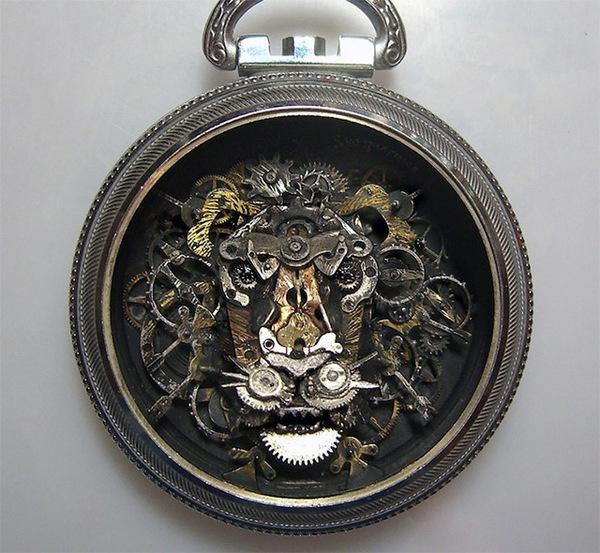 Steampunk Watch Part Sculptures by Sue Beatrice #punk #sculpture #lion #steam #mechanical #watch #cogs #gears
