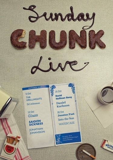 AZIN ASHOURVAN / +1 (415) 645 3373 / HEJ@AZIN.SE / SUNDAY CHUNK LIVE #live #sauce #photo #chocolate #sunday #chunk #poster #donut #typography