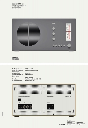 Less and More: Dieter Rams | Bibliothèque Design #lessmore #dieter #rams #invitation