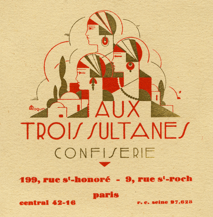 Aux Trois Sultanes confiserie, business card,... - Design is fine. History is mine. #illustration #typography