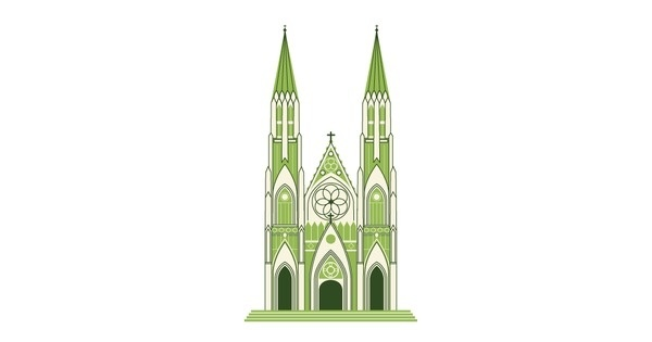 St. Patrick's Cathedral #patricks #line #icons #illustration #st #cathedral #drawing