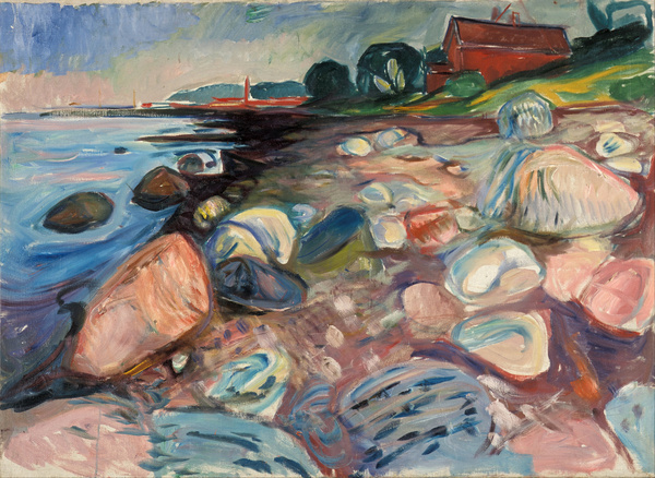 File:Edvard Munch Shore with Red House Google Art Project.jpg #munch #color #painting #landscape