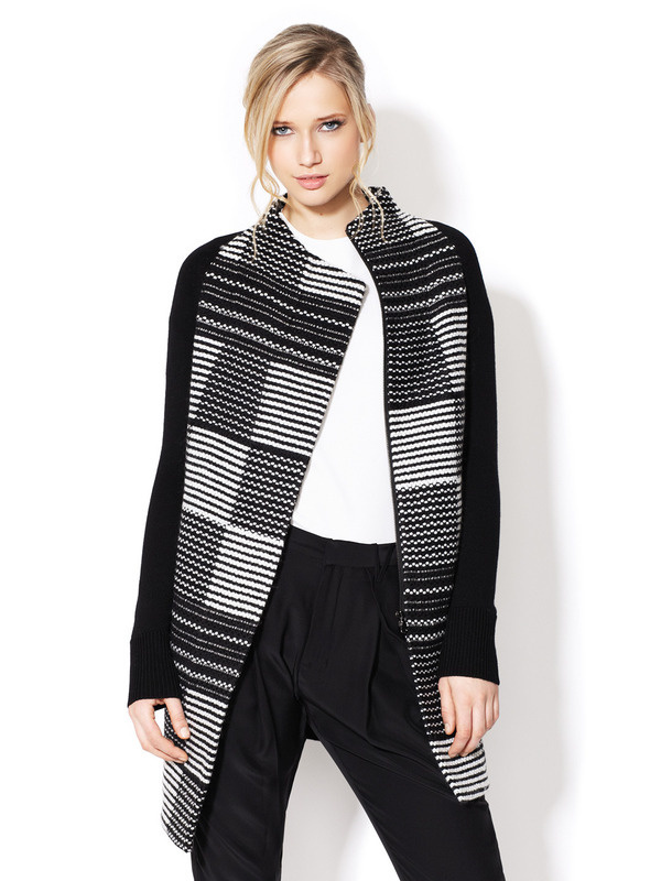 Virtuoso Graphic Coat by M. Patmos at Gilt #fashion #black and white #pattern