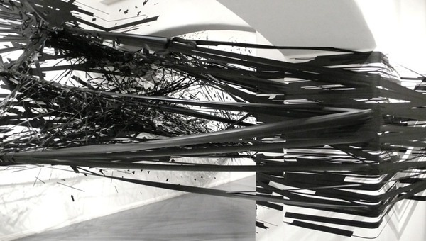 Monika Grzymalas 3D Tape Drawing Explodes onto the Walls of Galerie Crone #tape #installation