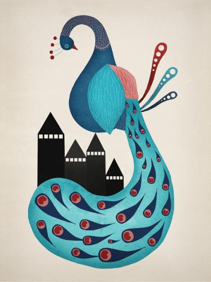 Michelle Carlslund Illustration: Peacock #nordic #city #peacock #danish #feather #bird #beautiful #feathers #illustration #elegant #scandinavian #blue #animal