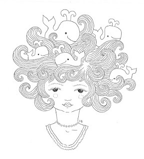 connie gabbert #hair #illustraion #whales