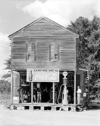 Photo of exterior Coca-Cola sign in Alabama, 1930s - Found in Mom's Basement #coca #1930s #cola