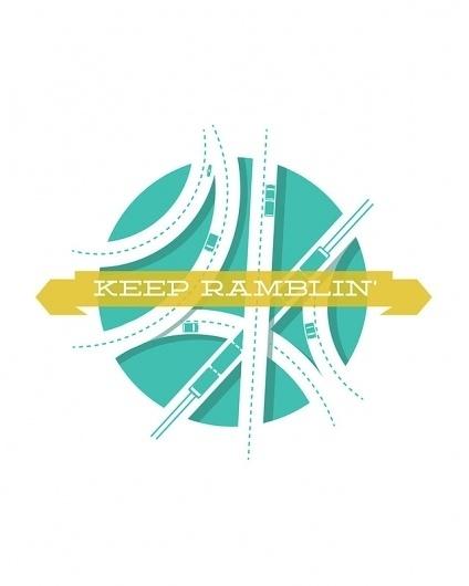 Keep Ramblin Art Print by Jon Ashcroft | Society6 #banner #roads #design #travel #illustration #type #lost #typography