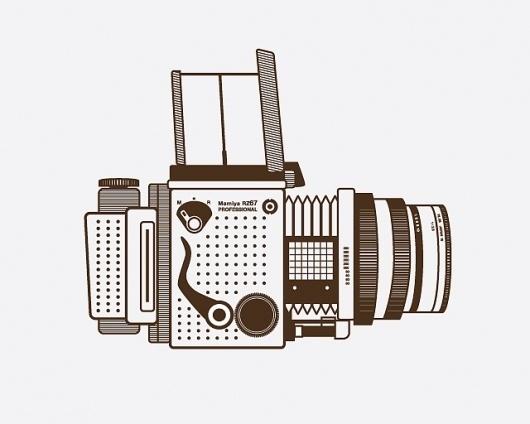 mamiya_1.jpg 640×512 pixels #camera #illustration