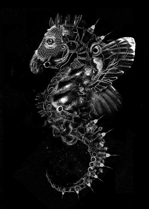 FANTASMAGORIK® SEAHORSE on the Behance Network #seahorse #horse #digital #illustration #art #surreal #animal