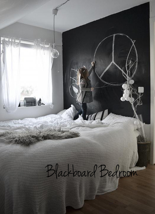 (via chalkboard paint wall in bedroom | the style files) #interior #white #black #clean #minimal #grey