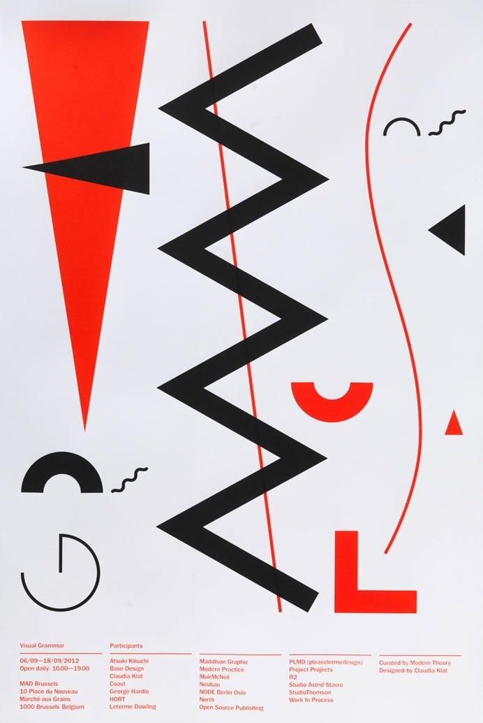 Visual Grammar exhibition poster designed by Claudia Klatof Spin.