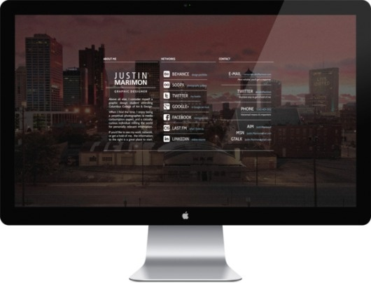 Personal Landing Page on the Behance Network #apple #photo #city #design #display #columbus #website #skyline