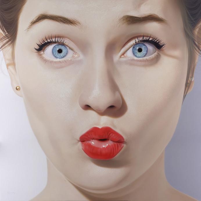 Hubert de Lartigue | artnau #red #girl #design #lips #illustration #portrait #art #painting #face #sex #lipstick