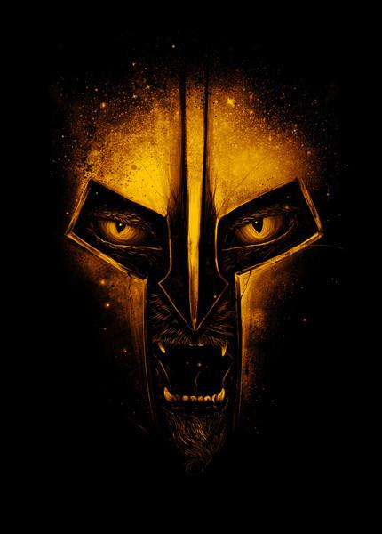The Protector Art Print #teeth #eyes #helmet #design #cat #sparta #illustration #gold #protector