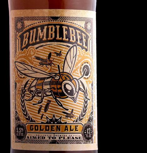 Ballistic Brewing Bumblebee Golden Ale #packaging #beer #label #bottle