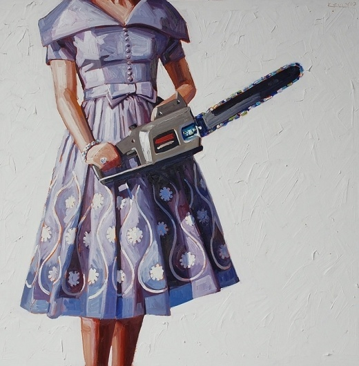 The Art of Kelly Reemtsen #girl #1950 #painting #dress #chainsaw
