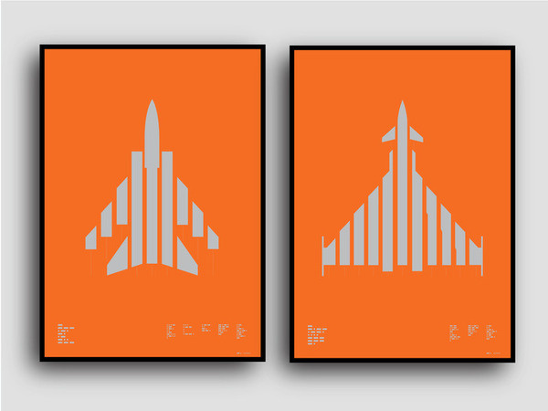 Tornado and Typhoon available on Kickstarter til 4th May Metallic silver on sun-blinding orange plike paper #marks #graphicdesign #print #aircraft #typography