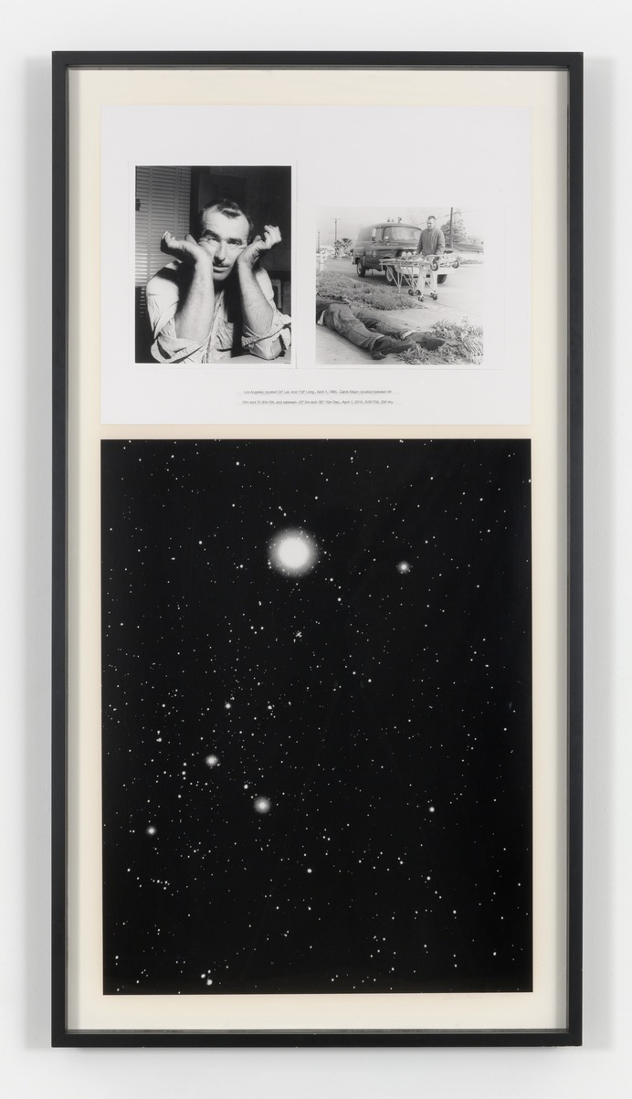 CHARLES GAINES NIGHT/ CRIMES: Canis Major, 1995, framed photo and silkscreened text framed: 70 3/4 x 37 3/4 in. (179.7 x 95.9 cm). © Charle #charles #gaines