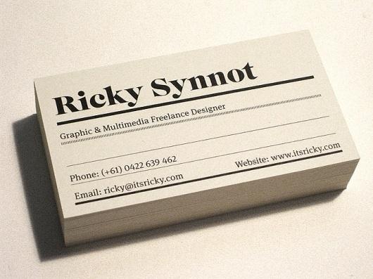 Ricky Synnot Studio Cards 09/10 - Business Cards - Creattica #card