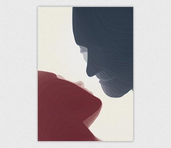 Contour Kiss #design #graphic #illustration #poster #kiss