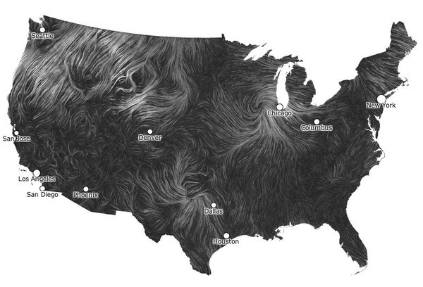 http://blog.builtwithmomentum.com/post/20164769452/take a look at theses beautiful live wind maps of #usa #black #texture