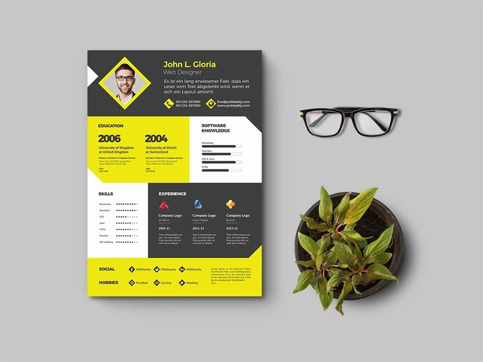 Free Clean Designer CV Template with Four Colors Option