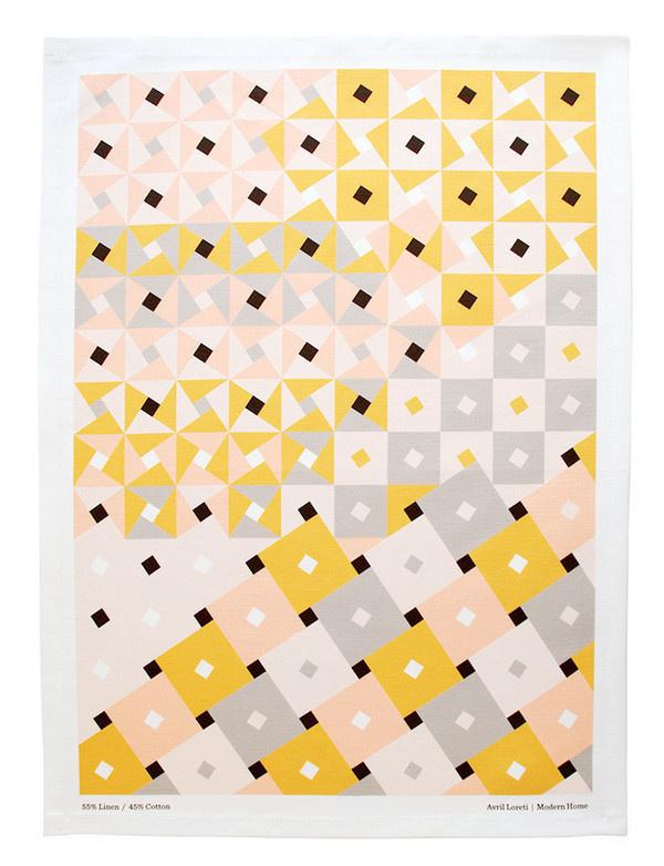 Dixon Tea Towel #abstract #pattern #towel #pink #yellow #tea #gray